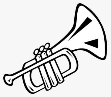 Free Trumpet Black And White Clip Art with No Background.