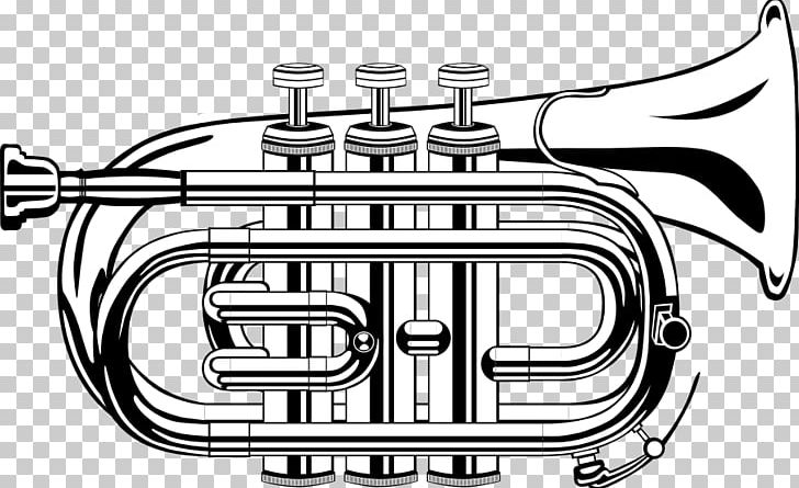 Trumpet Black And White PNG, Clipart, Alto Horn, Black And.