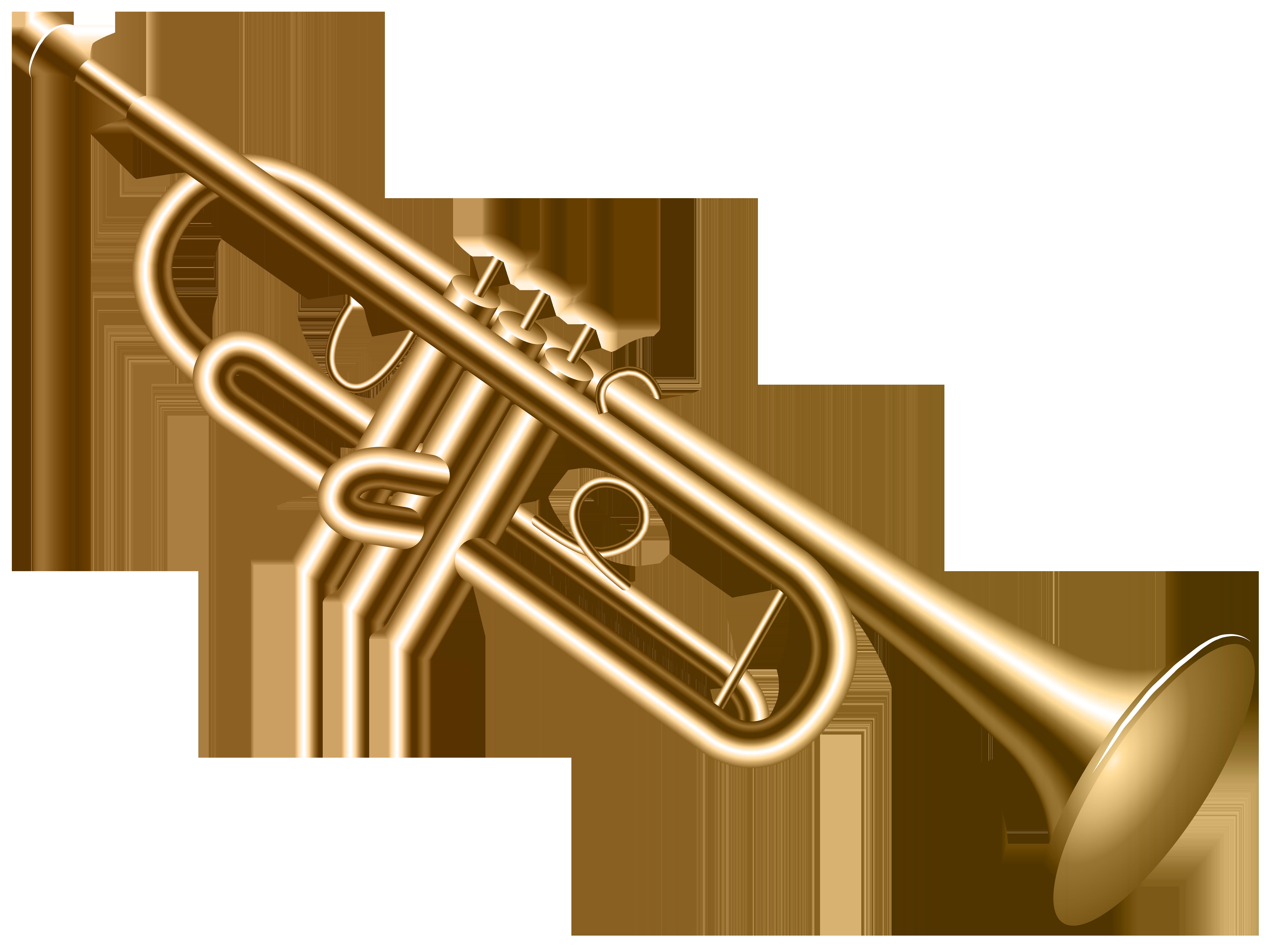 Trumpet Transparent PNG Clip Art Image.
