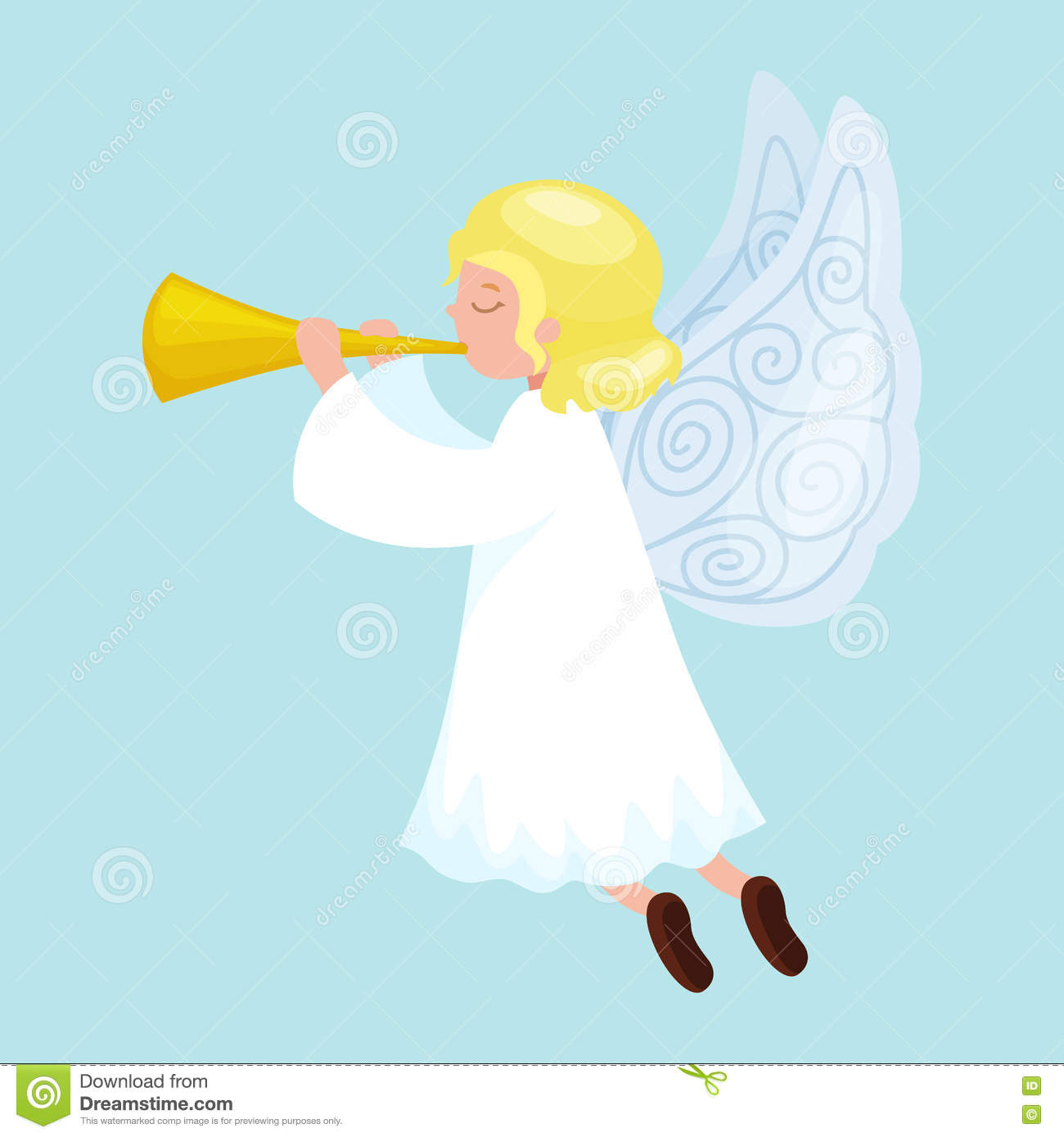 Christmas Holiday Flying Angel With Wings And Golden Trumpet Like.