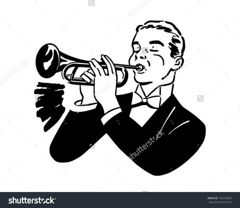 Trumpet Player Retro Clipart Illustration Stock Vector 102230845.