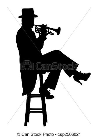 Vector Clip Art of Seated trumpet player.