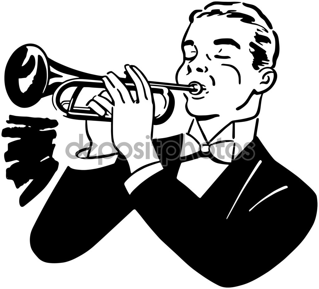 Trumpet player clipart #11