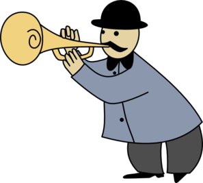 Someone playing trumpet clipart.