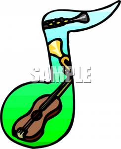 Clarinet, a Trumpet, and a Violin In a Music Note Shape Clipart.