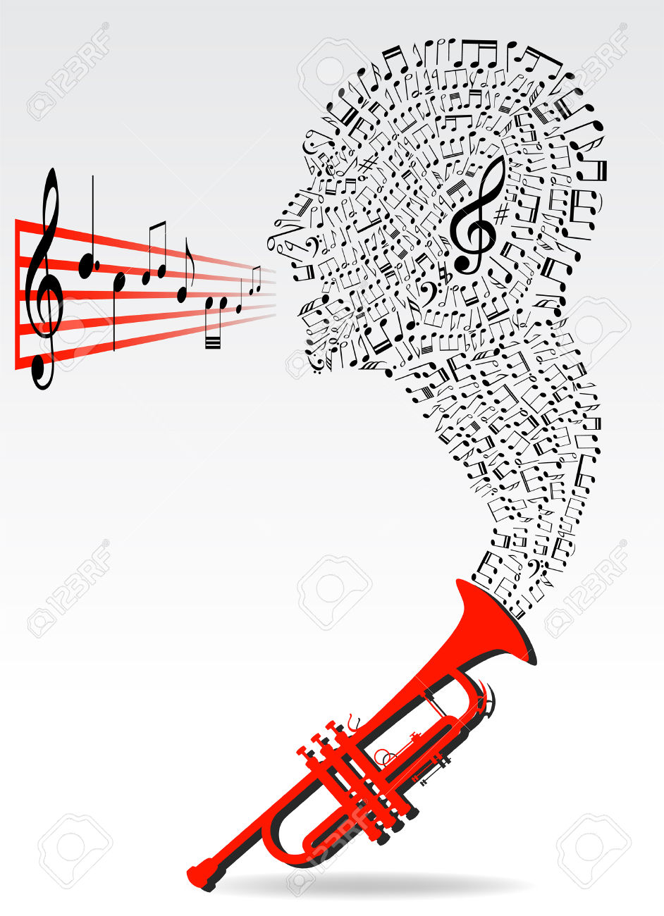Music Notes In Head Shape Out Of Trumpet Instrument Conceptual.