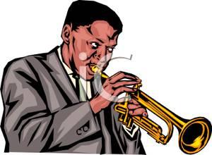 Black Man Playing Trumpet Clipart Image.