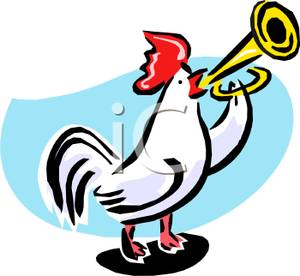 Rooster Blowing a Trumpet.