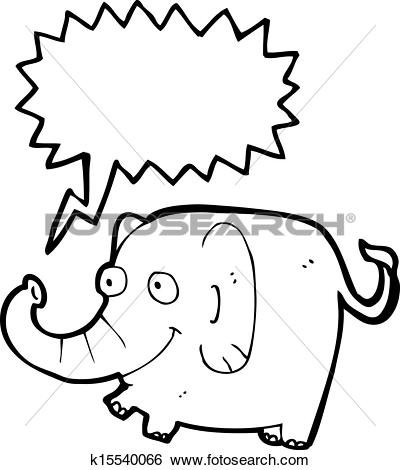 Clip Art of cartoon pink elephant trumpeting k15540066.