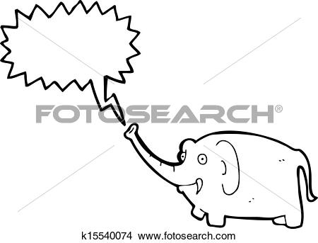 Clipart of cartoon pink elephant trumpeting k15540074.