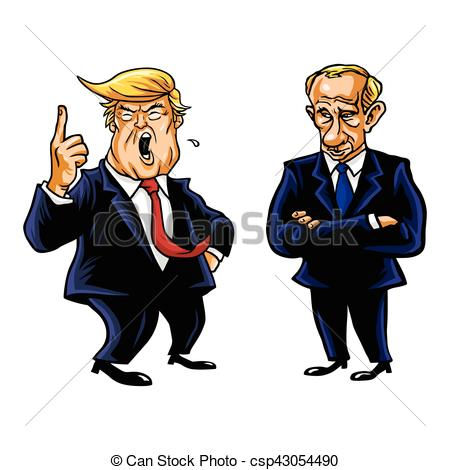 EPS Vektoren von karikatur, Trumpf, vladimir, putin, donald.