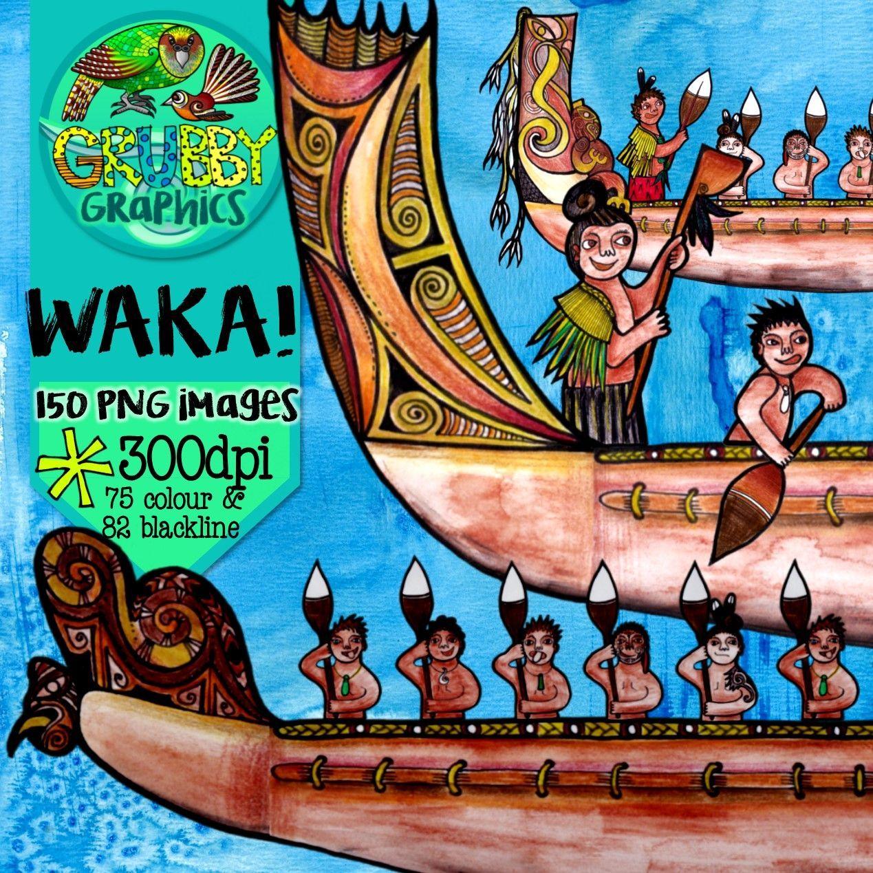 Waka & Hoe/Paddle Clip Art.