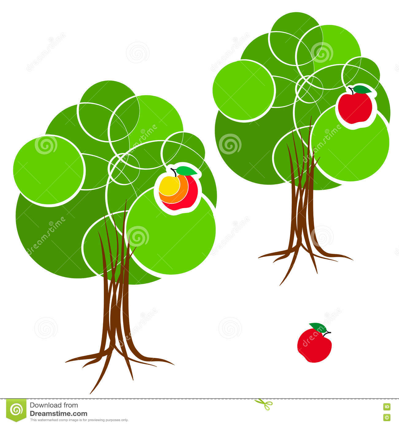Cartoon Green Summer Tree With A Crown Of Circles Different.