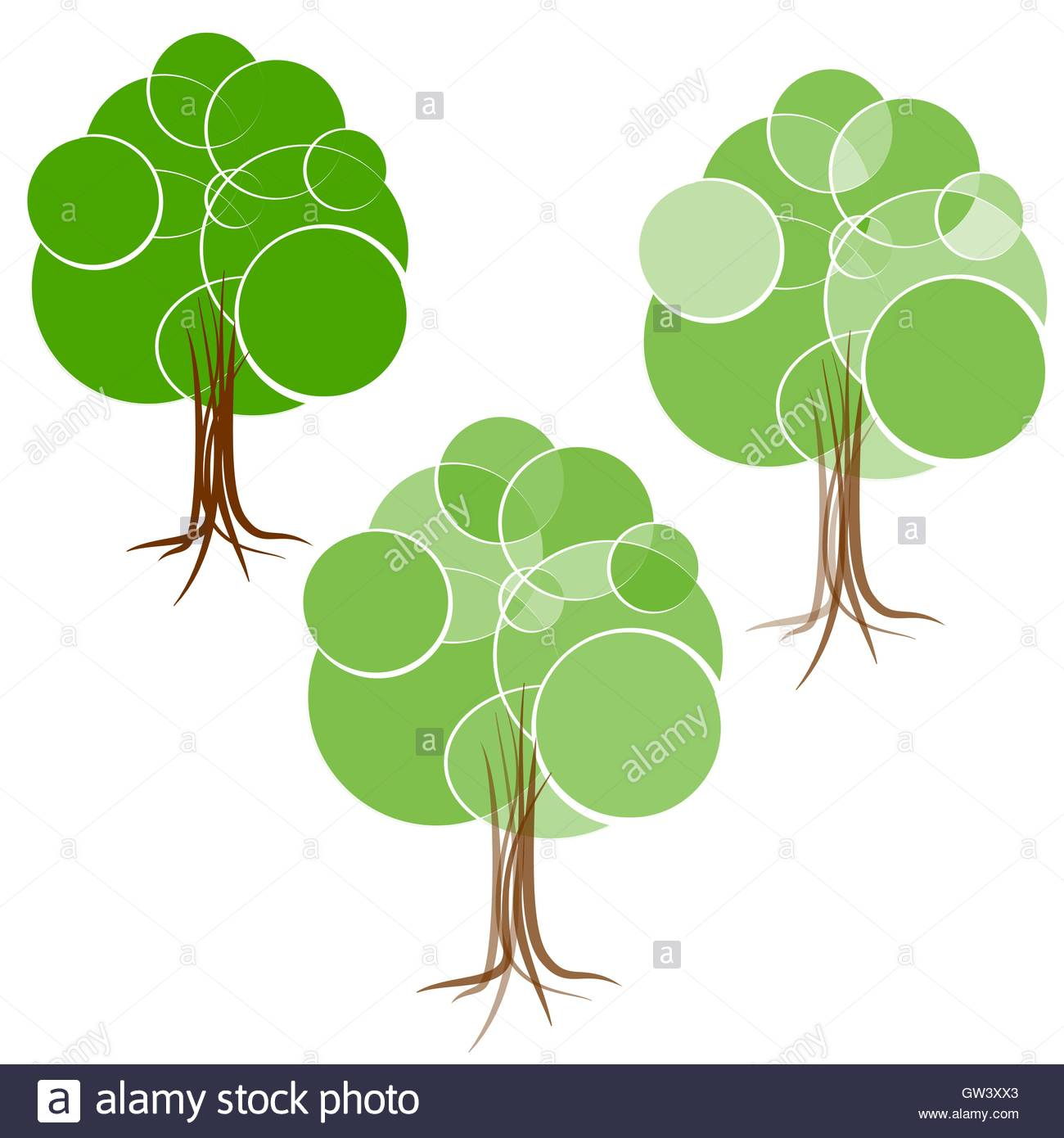 Cartoon Green Summer Tree With A Crown Of Circles Different Stock.