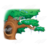 A Beka Book :: Clip Art :: Dripping Tree—with hole in trunk.