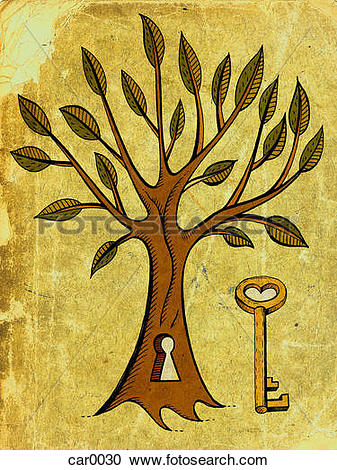 Stock Illustrations of a skeleton key and a tree with a key hole.