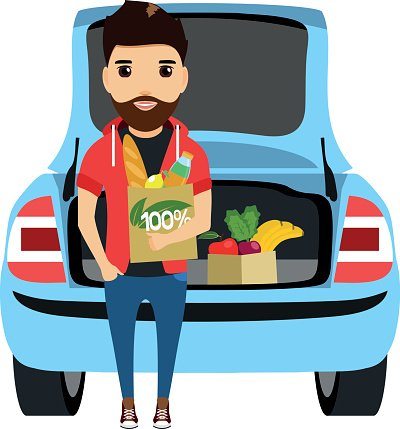 young man puts shopping in the trunk of his car Clipart.