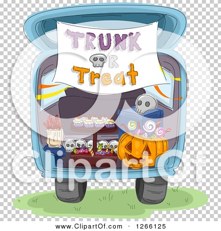 Clipart of a Trunk or Treat Banner over Halloween Sweets in the.
