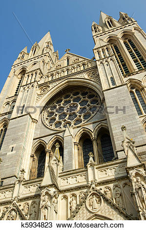 Stock Photo of Close up of the front of Truro Cathedral, Cornwall.