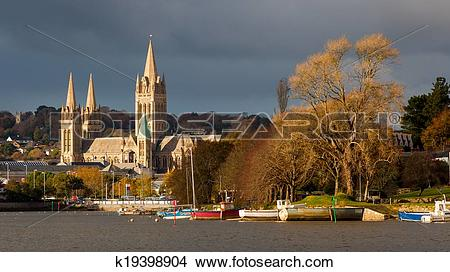 Stock Photo of River and Truro Cathedral k19398904.