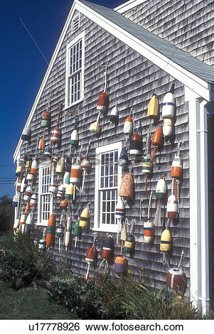 Stock Images of Cape Cod, Massachusetts, Colorful fishing buoys.