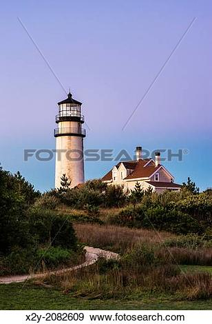 Stock Photograph of Rustic, weathered lighthouse, Highland Light.