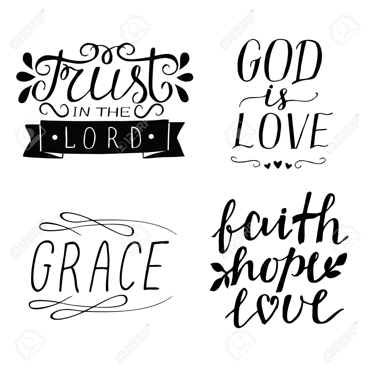 Set of 4 Hand lettering christian quotes God is love. Faith.