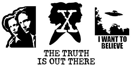 I Want to Believe, The Truth is Out There, Scully and Mulder Decals (Black).