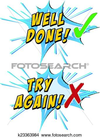Clipart of Try again and well done k23363984.