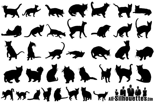 Free Vector Cats Silhouettes.