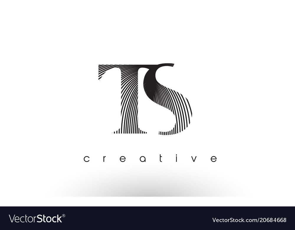 Ts logo design with multiple lines and black and.