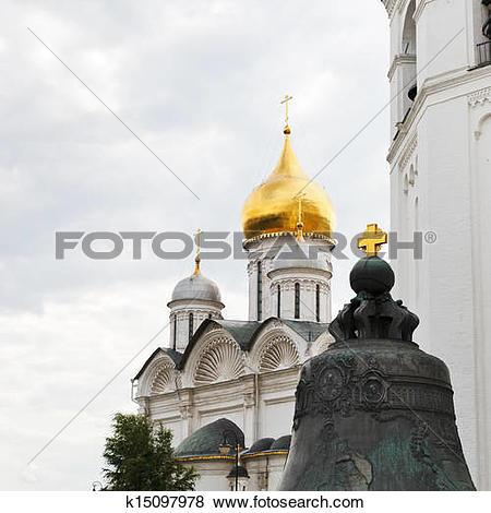 Pictures of golden cross on Tsar bell in Moscow Kremlin k15097978.