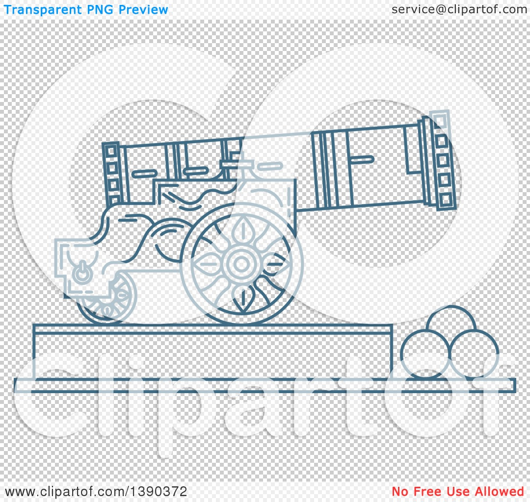 Clipart of a Blue Lineart Styled Landmark, Tsar Cannon, Russia.
