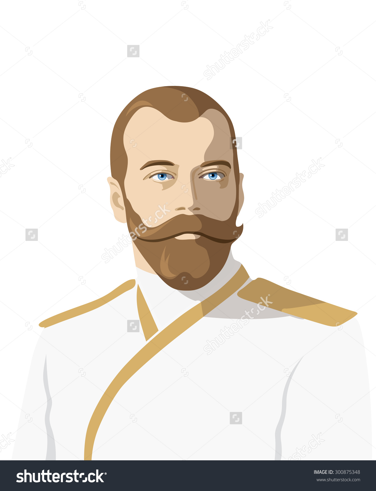 Vector Portrait Nicholas Ii Last Russian Stock Vector 300875348.