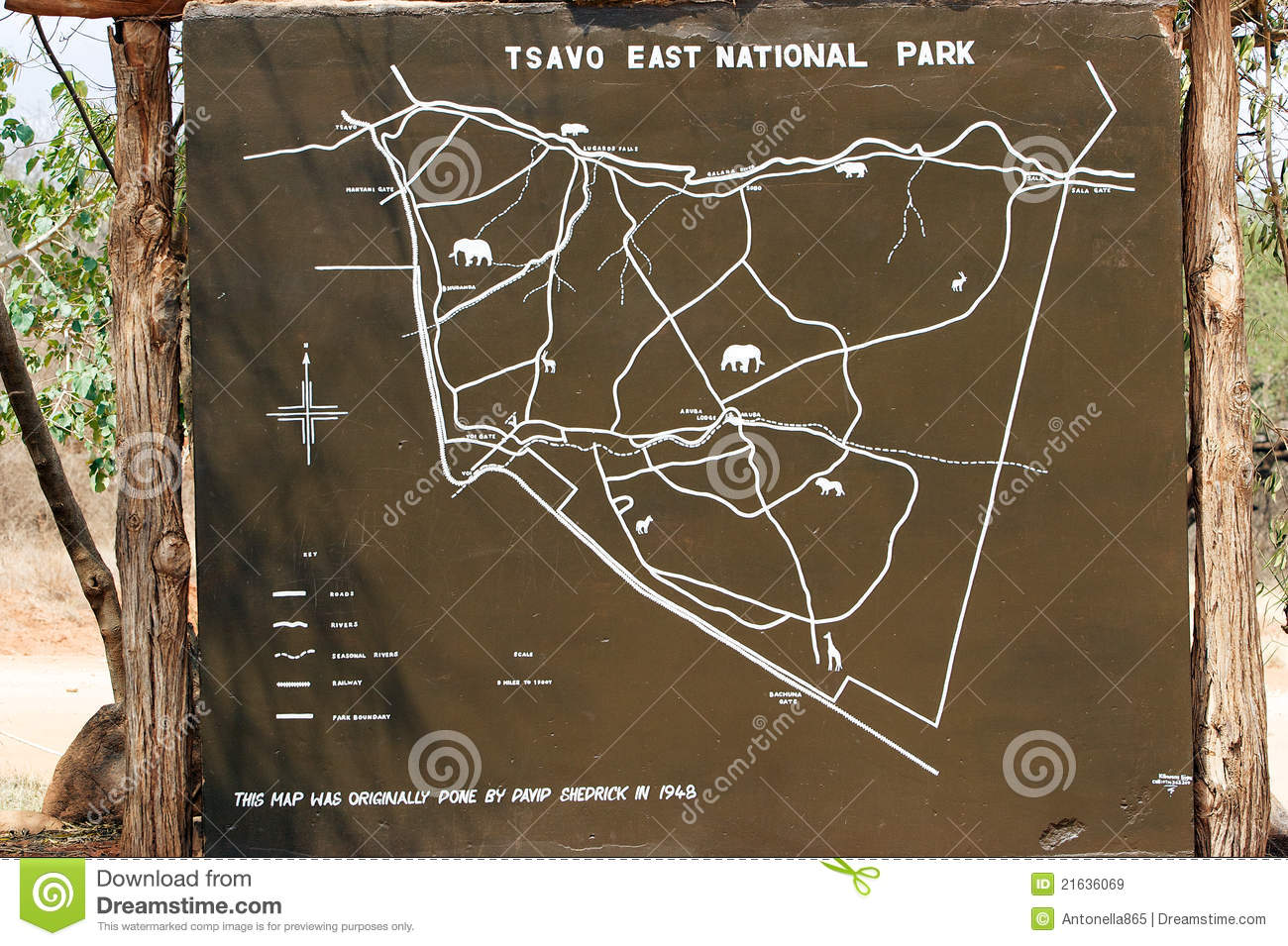 Tsavo East National Park Map Editorial Stock Image.