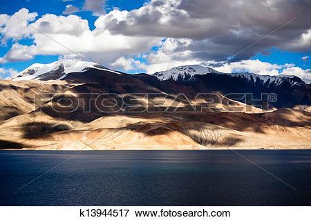 Picture of Sunset at Tso Moriri Lake. Altitude 4600 m. Himalaya.