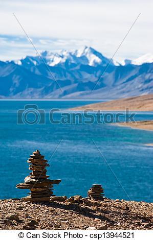 Stock Photo of Buddhist stone pyramid at morning Tso Moriri Lake.