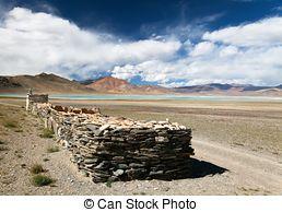 Stock Photography of Tso Moriri Lake with prayer flags.