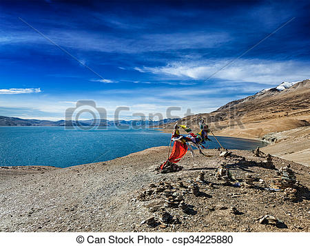 Pictures of Buddhist prayer flags lungta at Himalayan lake Tso.