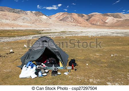 Stock Photography of Tent in Himalayan mountains.