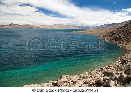 Stock Images of Tso Moriri lake in Rupshu valley, Chamser and.