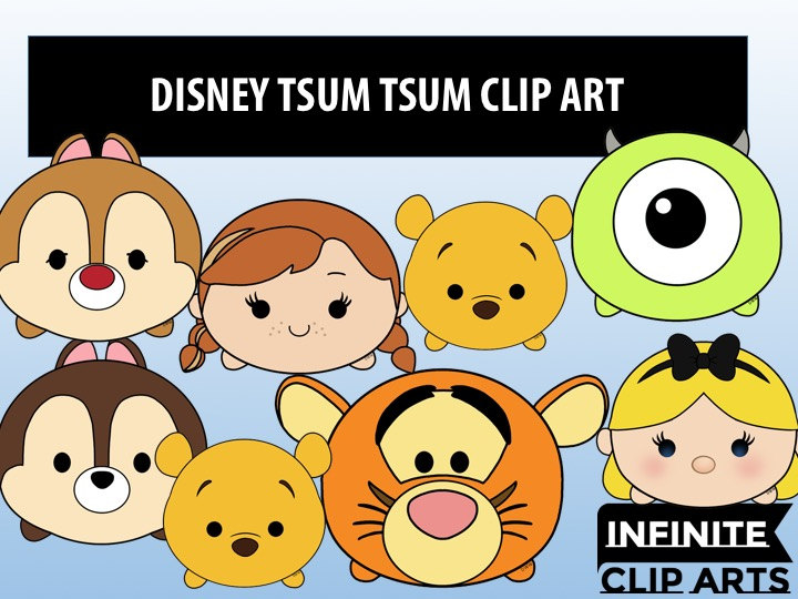15 Disney Tsum Tsum Cartoon Clip art Printable Digital.
