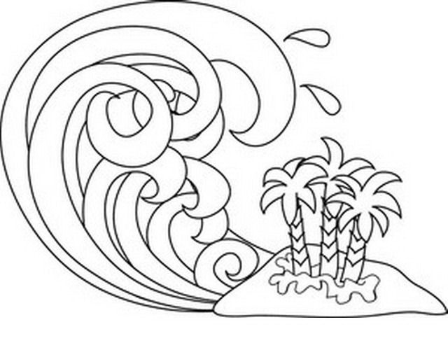 Tsunami Wave Coloring Page in 2019.