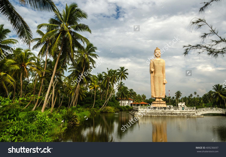 Tsunami Memorial Peraliya Buddha Statue Hikkaduwa Stock Photo.