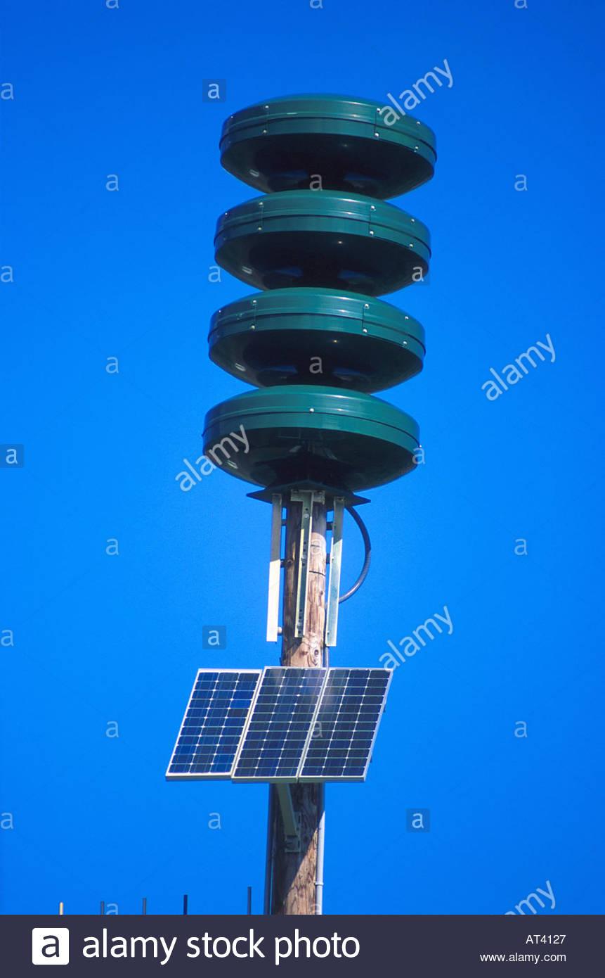 Solar powered Tsunami warning siren in Hawaii Stock Photo, Royalty.