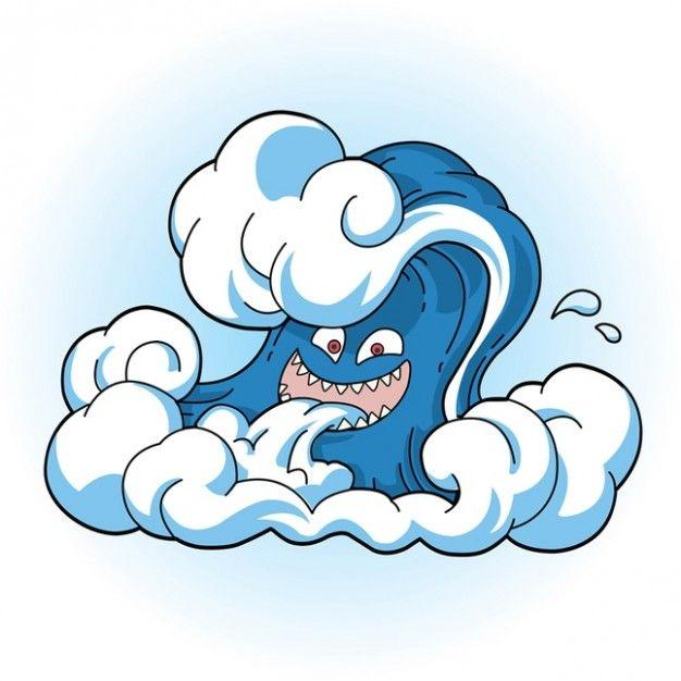 Image Bank Comic Tsunami Wave Face.
