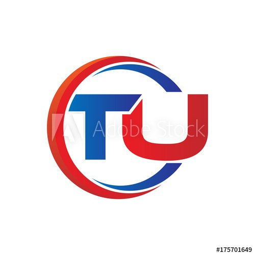 tu logo vector modern initial swoosh circle blue and red.