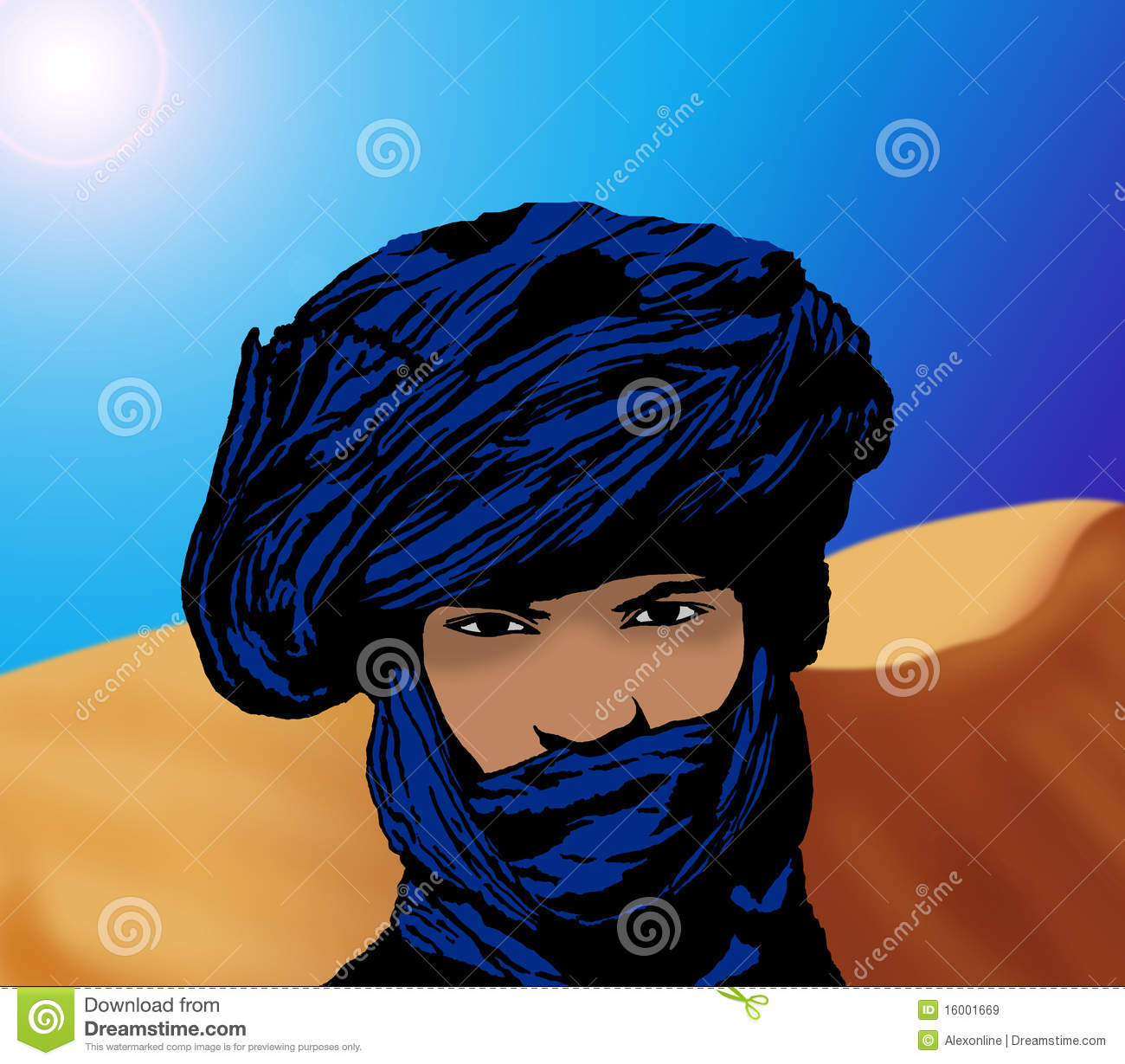 Portrait Of A Touareg In The Desert Royalty Free Stock Images.