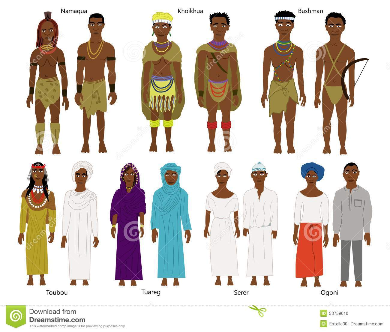 A Set Of Southern And West African Tribes And People Stock.
