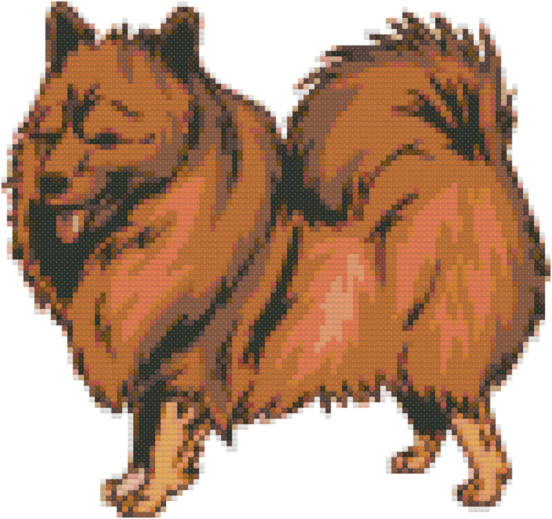 German Spitz Dog Breed Cross Stitch Pattern and Tutorial Instant.